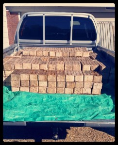 A truckload of used bricks makes for cheap raised beds